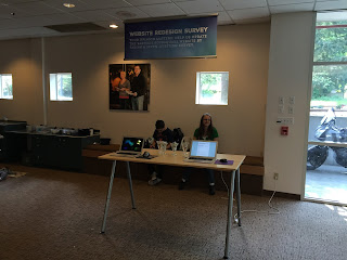 Picture of our survey kiosk near the main entrance of our church