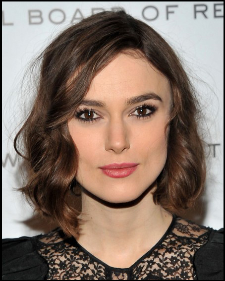 Keira Knightley Sexy Medium Legnth Bob Hair Style With Mussed Spiral