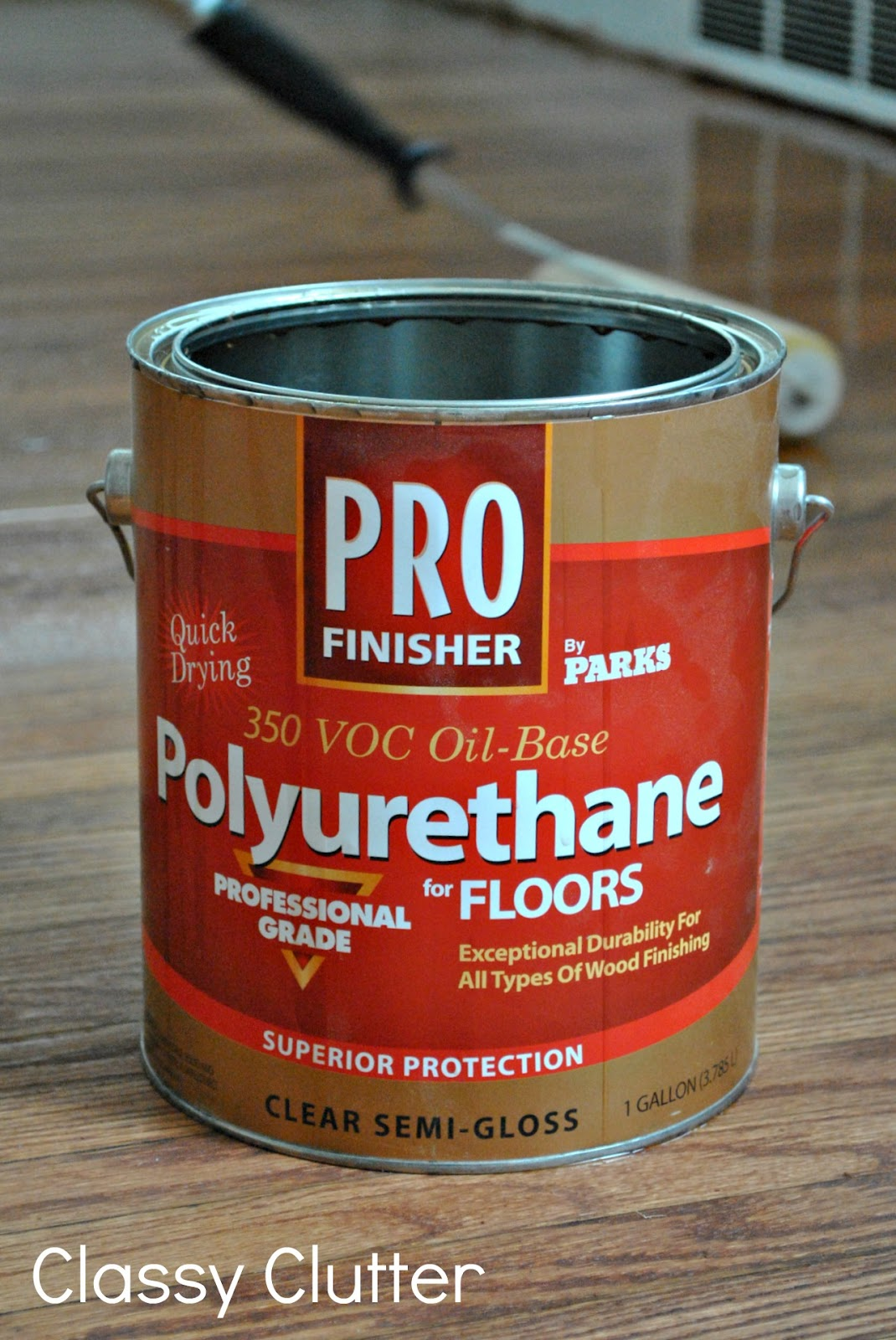 This 1-gallon can runs $29.99 at Home Depot and we really liked it. Be sure  to read the directions thoroughly and make sure you work in a ventilated  area. - How To Refinish Wood Floors