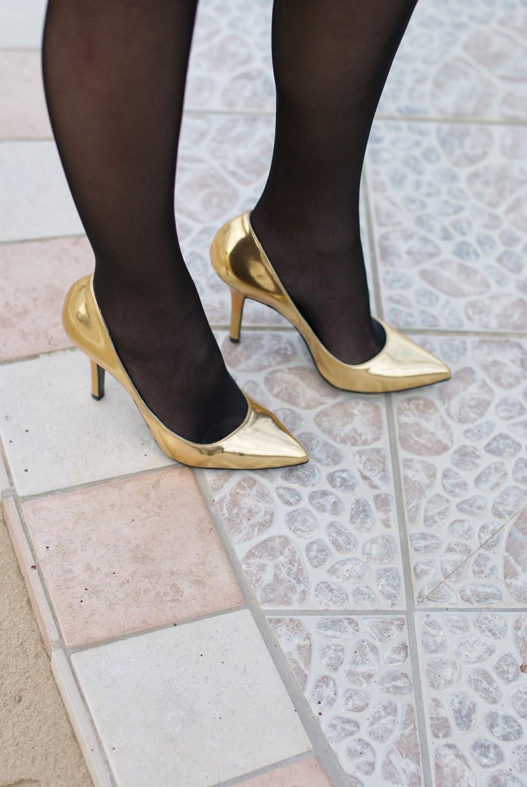 golden pumps, decolletées dorate, Fashion and Cookies, fashion blogger