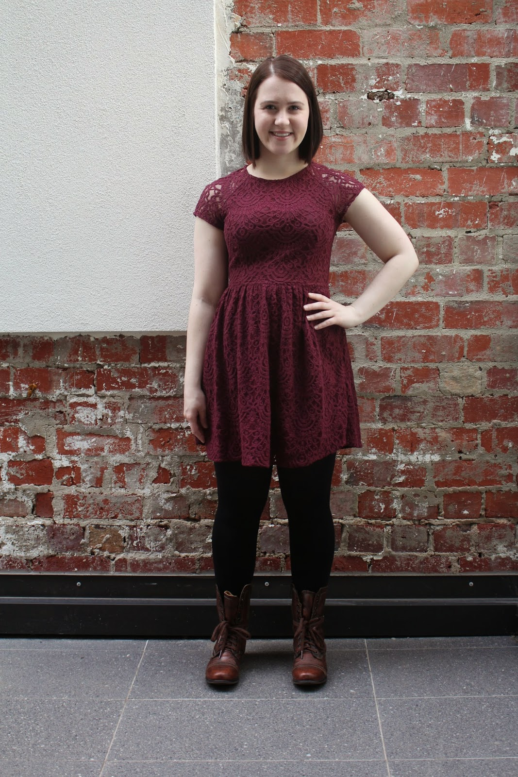 fall outfit, autumn outfit, winter outfit, wine coloured lace H&M dress, forever new opaque tights, brown steve madden combat boots, forever new black leather jacket with studs, college outfit, university outfit