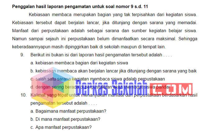 Soal Uas Bahasa Indonesia Sd Kelas 6 Kurikulum 2013 Dengan Kunci Jawaban Berkas Sekolah