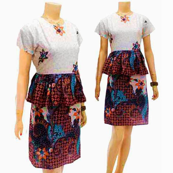 DB3789 Mode Baju Dress Batik Modern Terbaru 2014