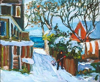 Provincetown artist Nancy Whorf was known for her wonderful paintings of PTown covered with snow