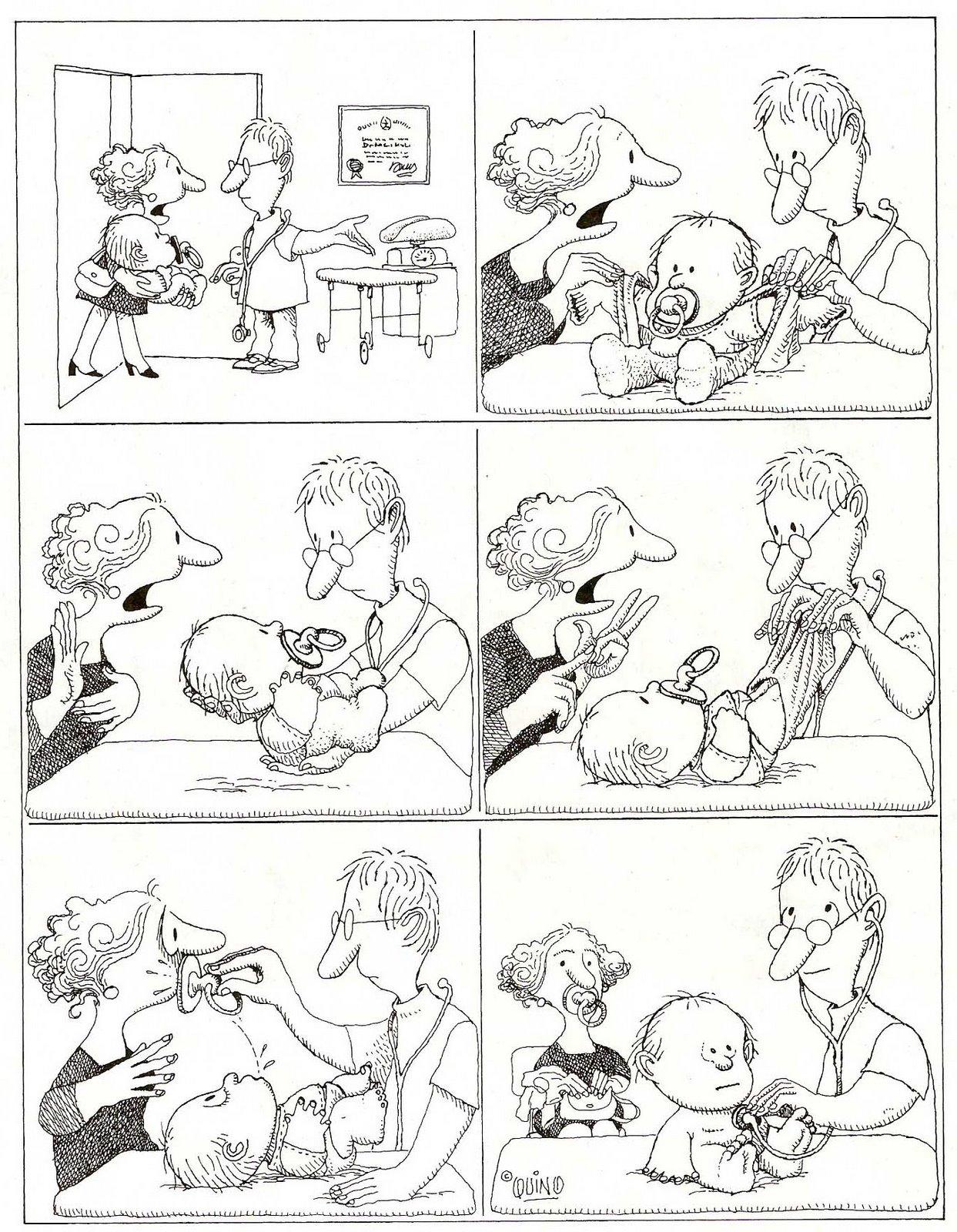 Quino, viñeta muda, pediatra niño y madre