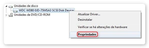 Propriedades da Unidades de Discos do Windows