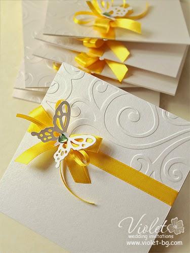сватбена покана жълта