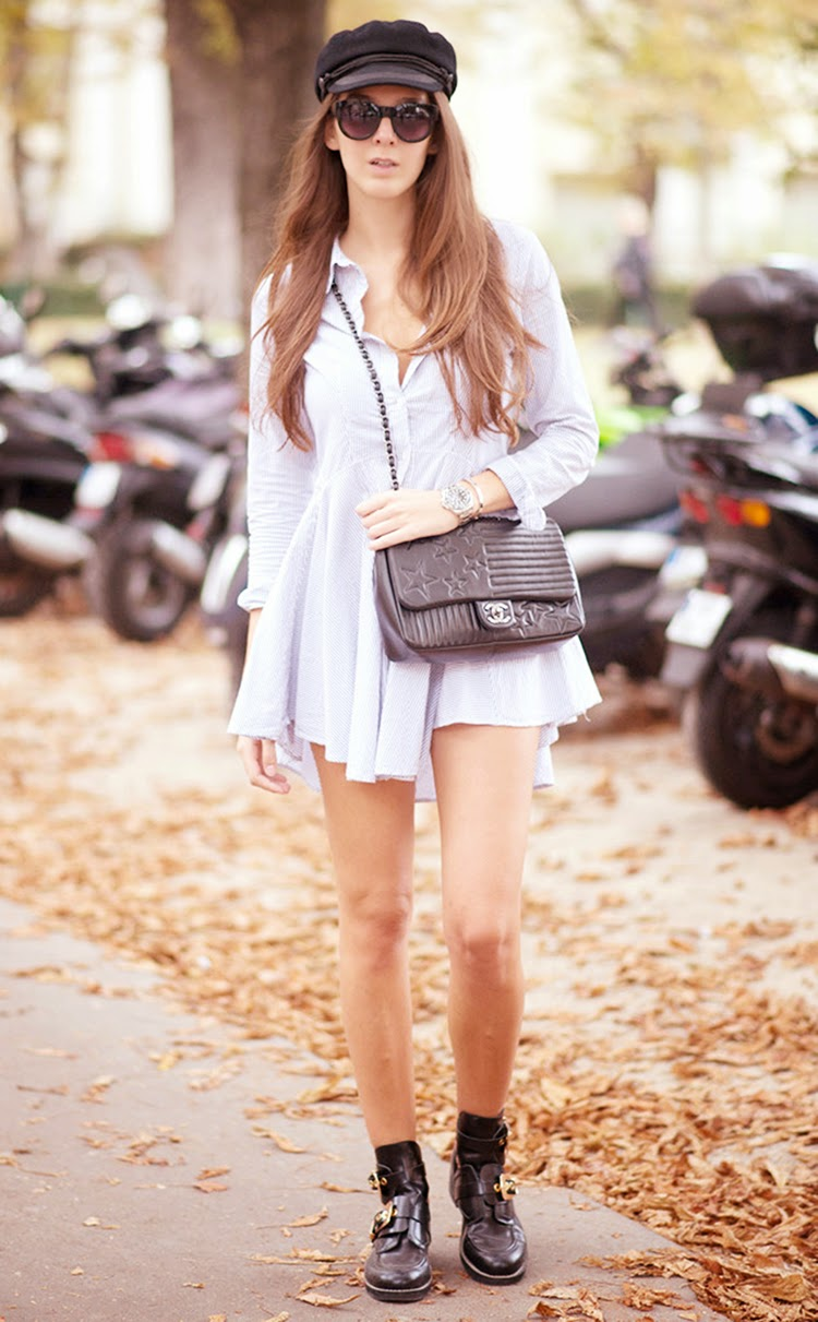 Estelle Pigault Wearing Full Skirt Shirt Dress