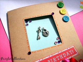 21st Birthday Card,birthday card, button, 21st, key lock, ribbon