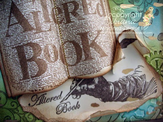 detail vintage teared altered book
