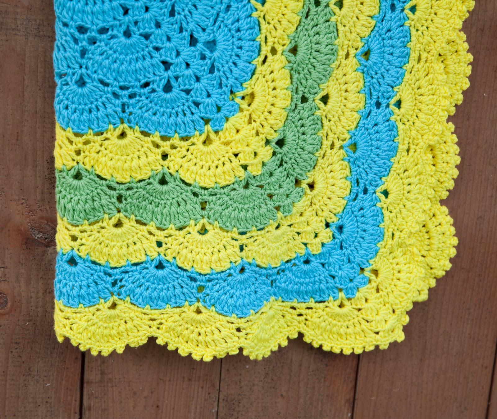 Sasha Patterns Crochet Lace Shell Stitch Baby Blanket Pattern