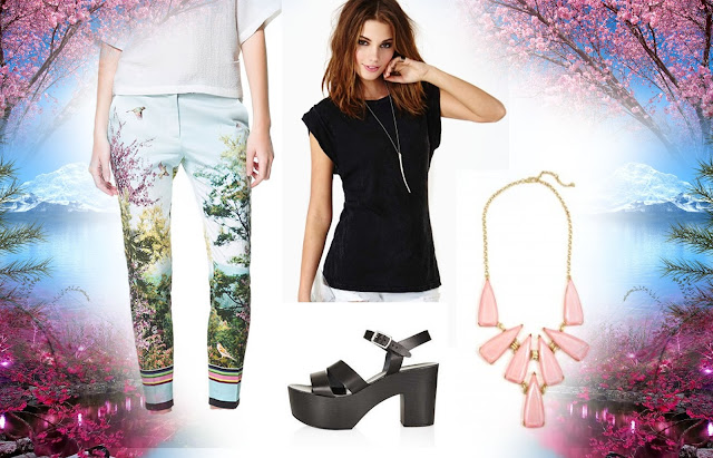 Zara digital print trousers, digital print, ankle detail, chunky sandals, topshop shoes, london style blog