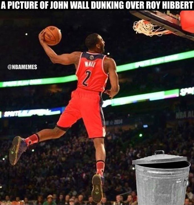 A Picture Of Jhon Wall Dunking Over Roy Hibbert JohnWall NBA