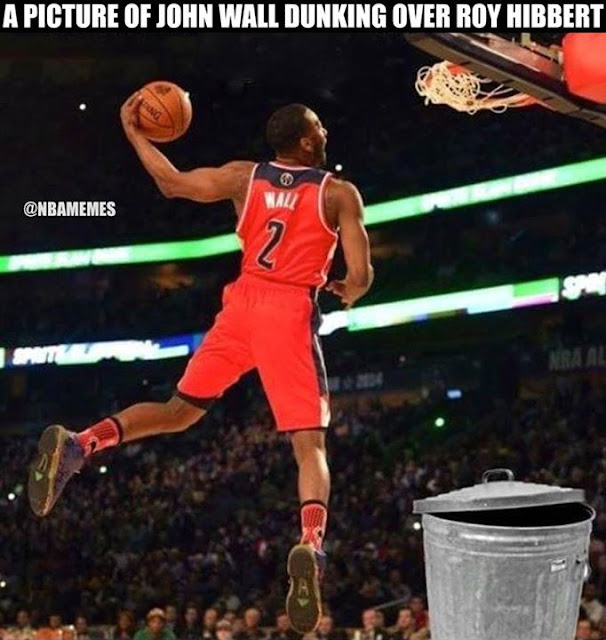 a picture of jhon wall dunking over roy hibbert.- #JohnWall #NBA, #WashingtonWizards, #2, #Wizards #lakershaters