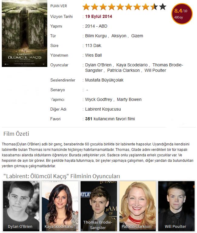 Labirent: Ölümcül Kaçış - 2014 - film bilgisi