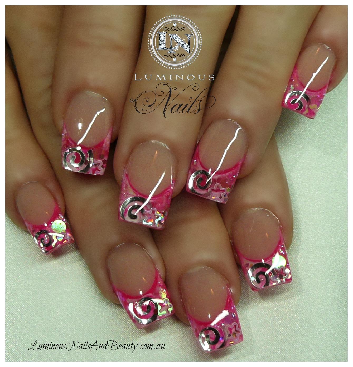 Hot Pink Acrylic Nails White Design - Nailartdesignsidea.info via
