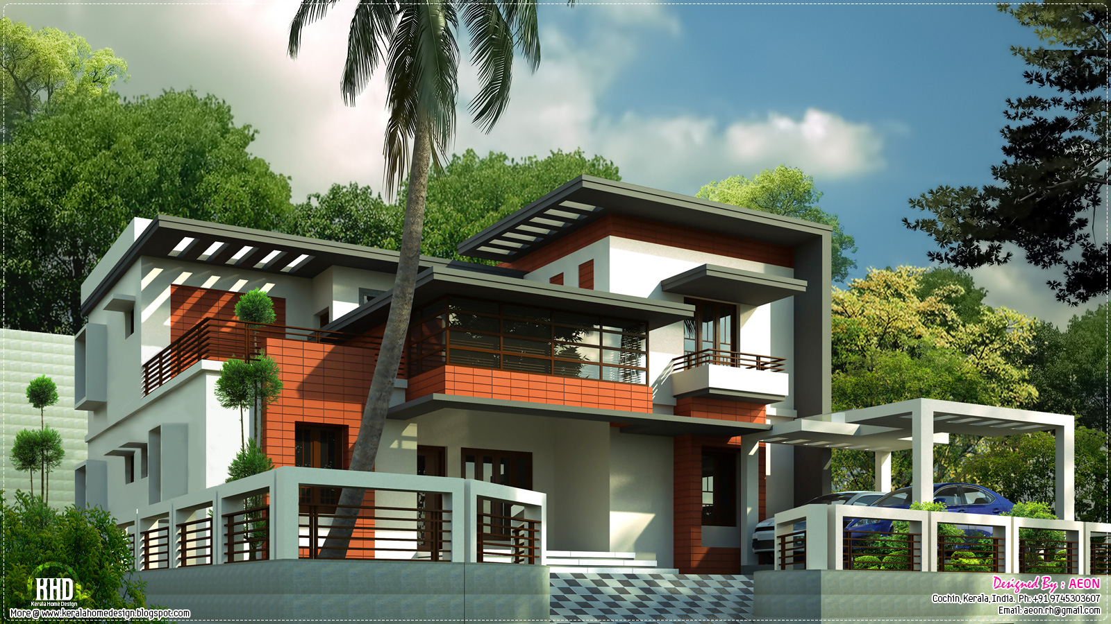 3400 sq feet contemporary home design kerala home for Small contemporary house plans in kerala