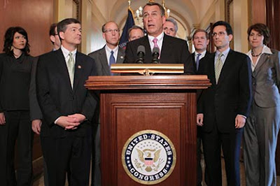 Congress Speaker John Boehner, surrounded by other Republicans, who might find a week in 2013 to talk about immigration reform.
