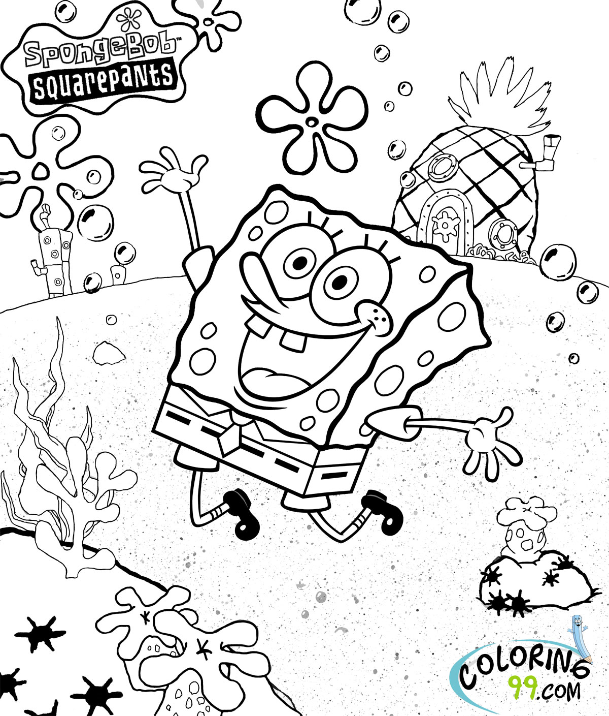 coloring pages of spongebob square - photo#10