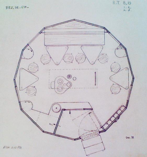 Originaler Bauplan von 1938: Refuge Tonneau von Charlotte Perriand