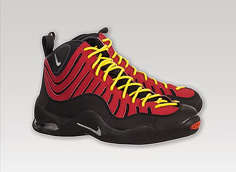 This is the Nike Air Bakin in the Black/Red colorway. The Nike Air Bakin  was originally released in 1997 and a has an unforgettable design.
