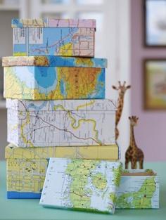 decorar reutilizando mapas de papel