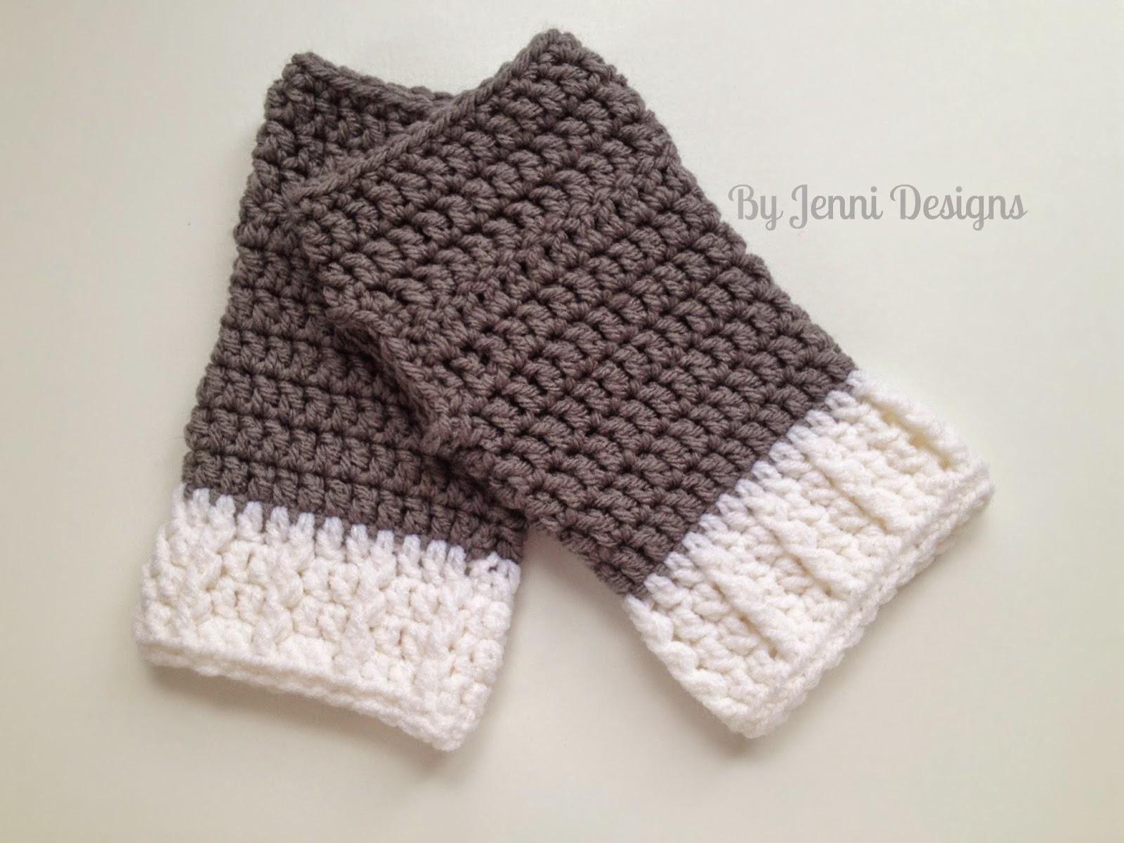Easy Crochet Gloves Free Pattern : By Jenni Designs: Free Crochet Pattern: Easy Ribbed Cuff ...