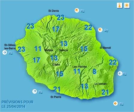 Prévisions météo Réunion pour le Vendredi 25/04/14