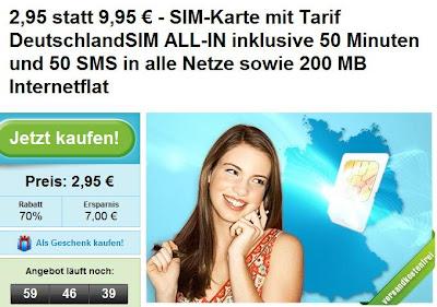 Groupon: SIM-Karte ohne Vertrag für 2,95€ statt 9,95€ (Tarif DeutschlandSIM ALL-IN mit Internetflat, 50 Freiminuten und 50 Frei-SMS)