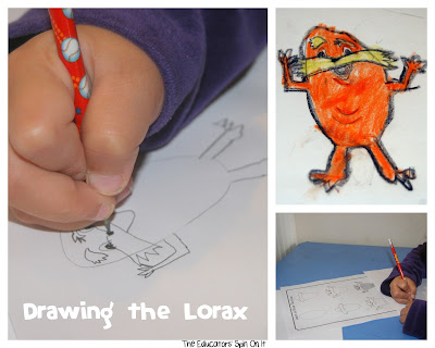 drawing the Lorax inspired by Dr. Seuss