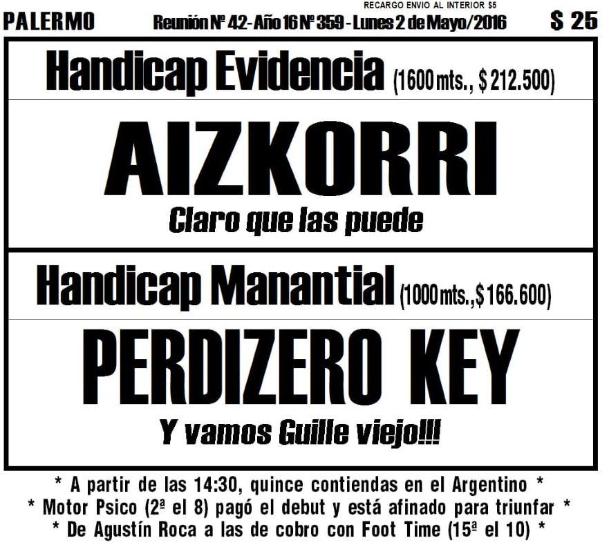 """Todo A Ganador - 2/05 - Palermo -Handicap Manantial-PERDIZERO KEY- Al estilo del """"Loco"""" Baglietto"""