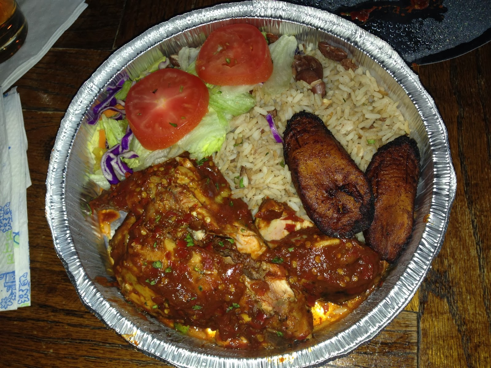 Blaze it Up! Houston TX, Reggae Plate with Jerk Chicken and Rice and Peas