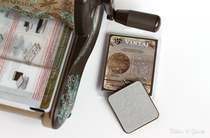 The Tulip Garden DecoEtch Die from Vintaj can be used to etch metal blanks. pitterandglink.com