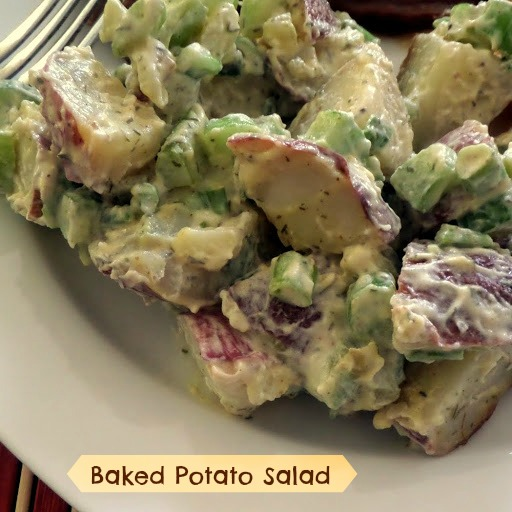 Baked Potato Salad:  A potato salad side dish made with baked red potatoes, celery, and dill.