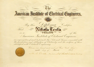 Some more honours for Dr. Nikola Tesla