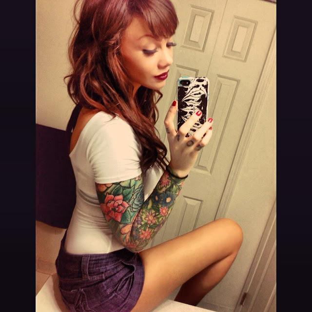 Skull & Flowers Shoulder Tattoo