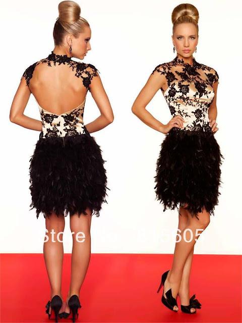 Vestidos con plumas para fiesta