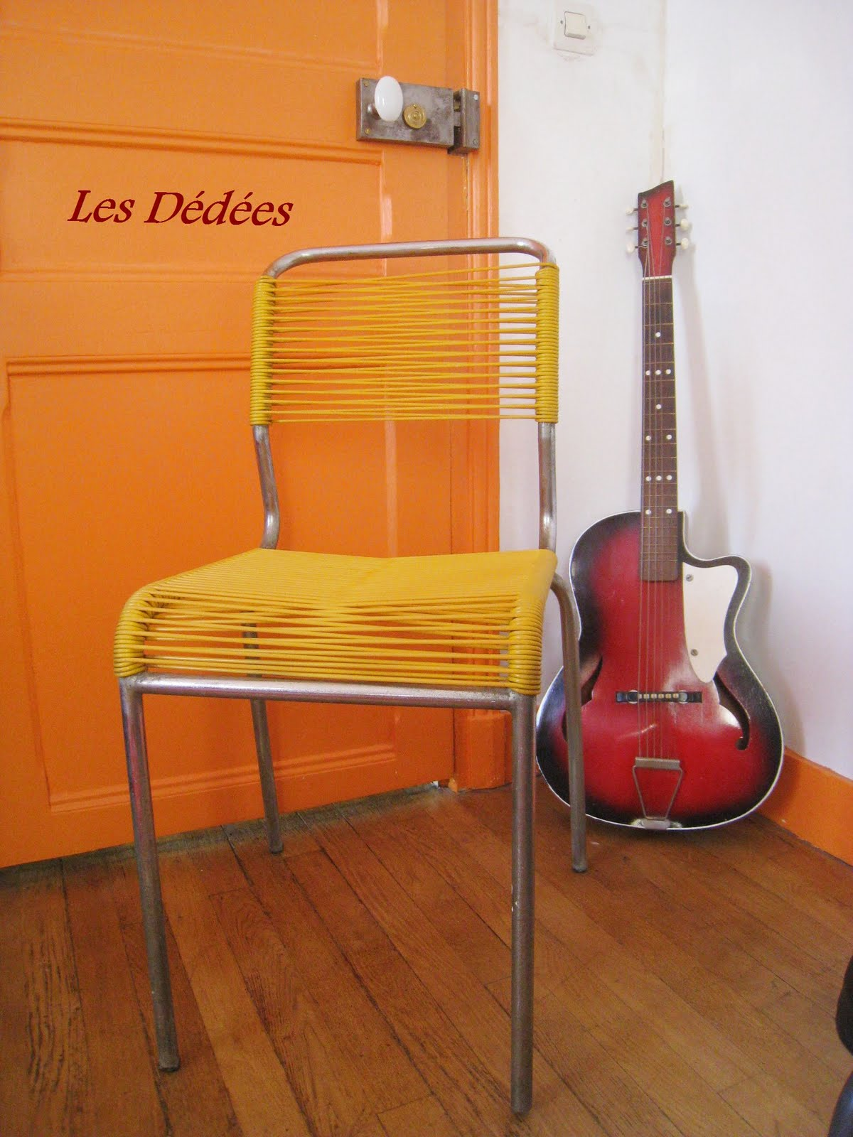 """Les dedees vintage recup creations CHAISE """"YELLOW SCOUBIDOU"""