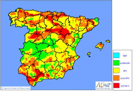 Mapa de nivells de risc d'incendi prevists