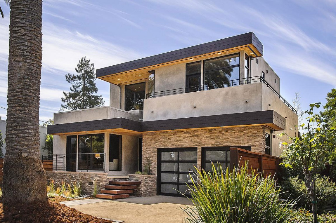 Contemporary style home in burlingame california Modern house columns