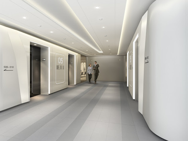 Picture of the hallway with elevators