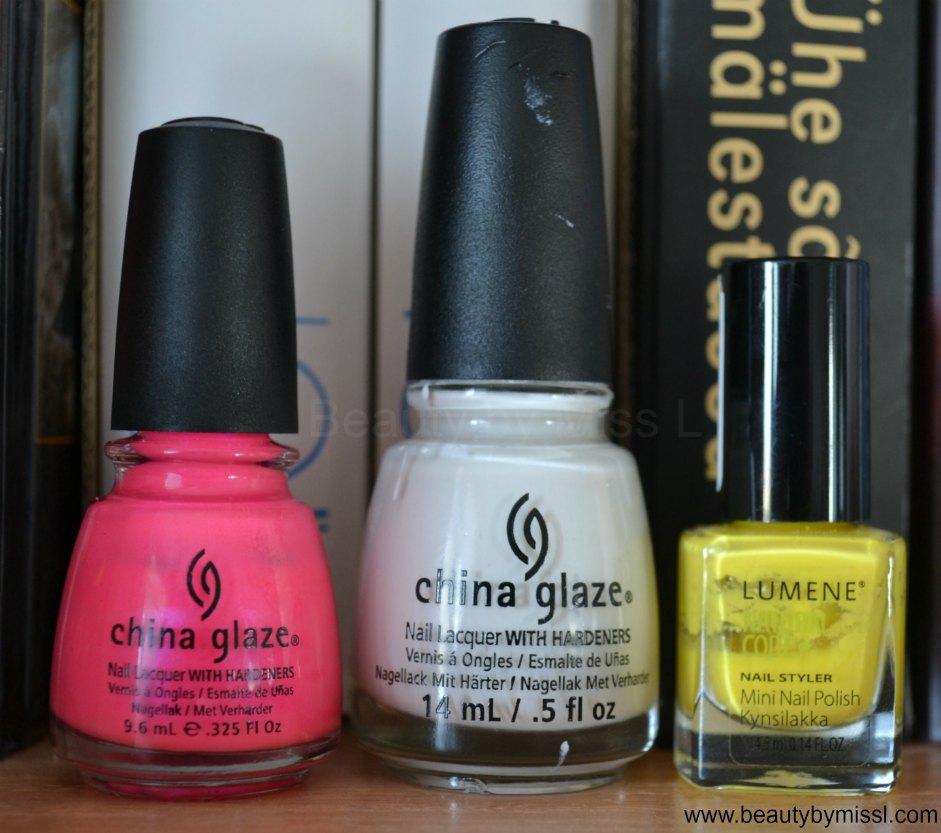China Glaze Pink Voltage, China glaze White on White, Lumene 13 Get Color