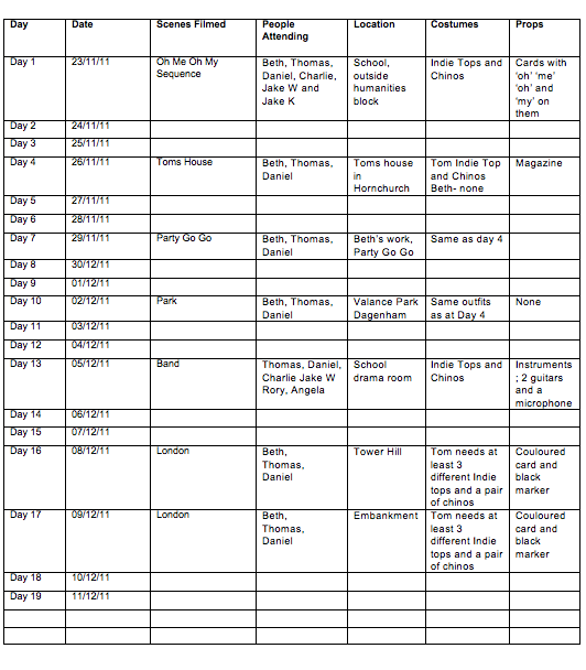 Beth Berrett's Music Video Blog: Planning: Suggested Filming Schedule