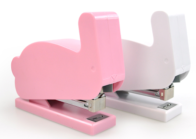 bunny-shaped staplers in pink and white