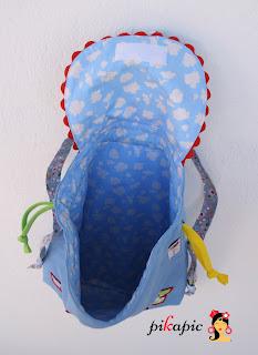 Interior mochila de tela personalizada Izan Pikapic
