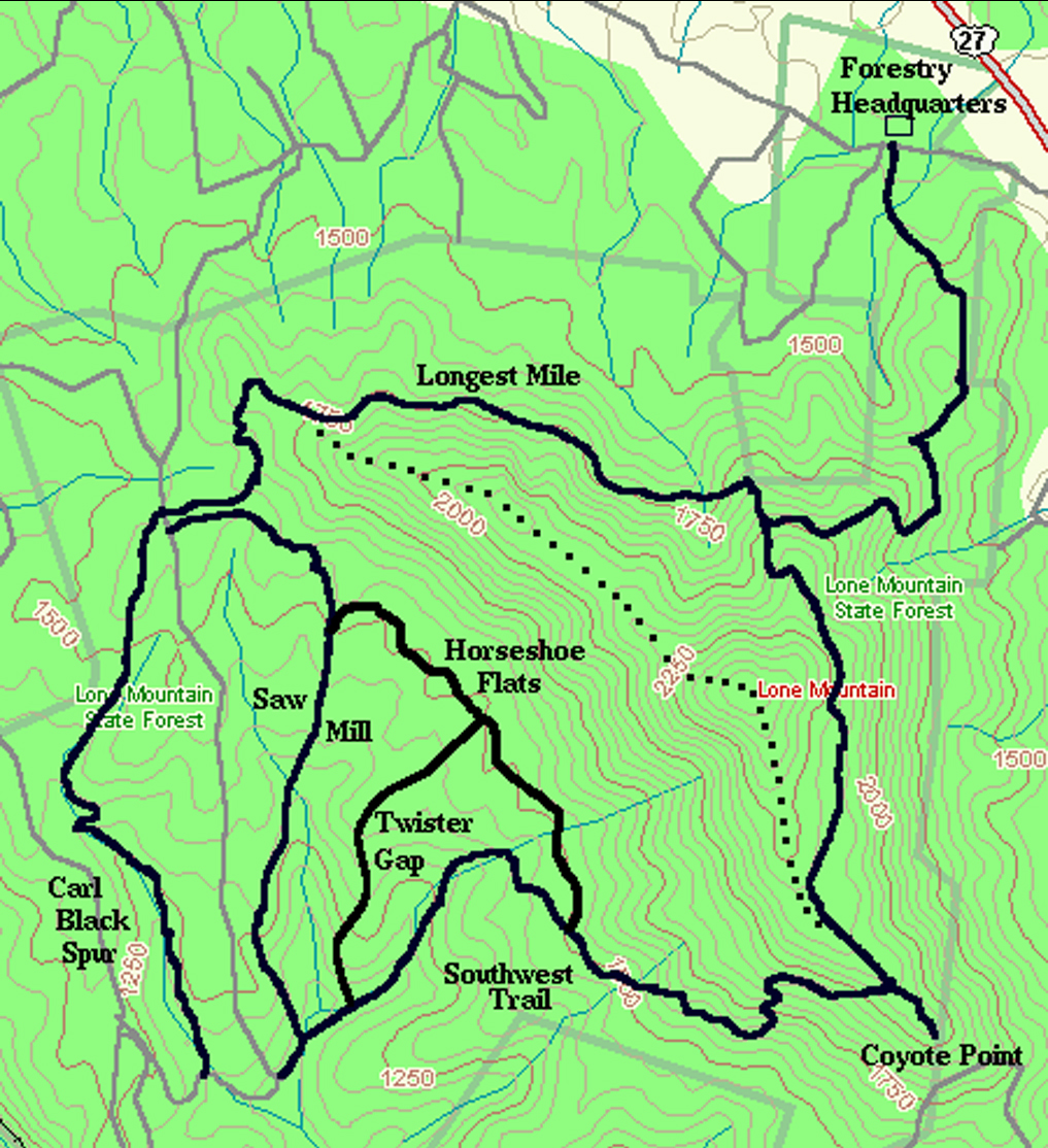 another map i found online does show the summit trail as a dotted line that runs 1 9 miles across the ridge and summit of lone mountain