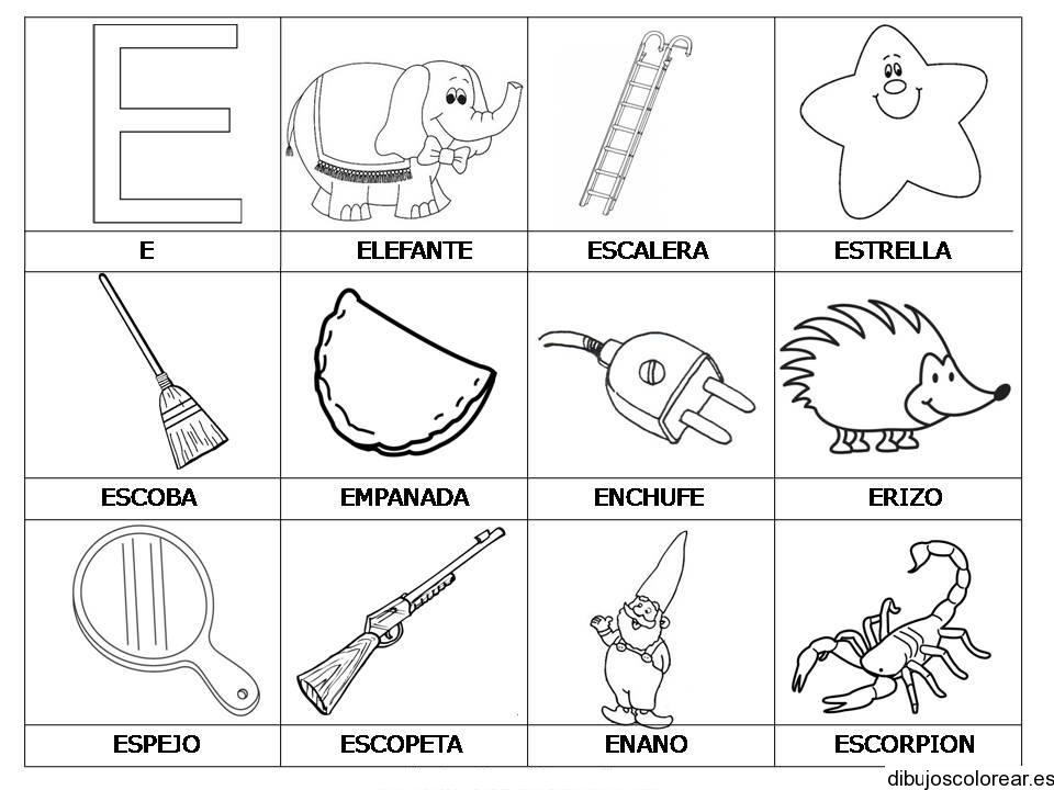 Palabras Y Dibujos Con La Letra E