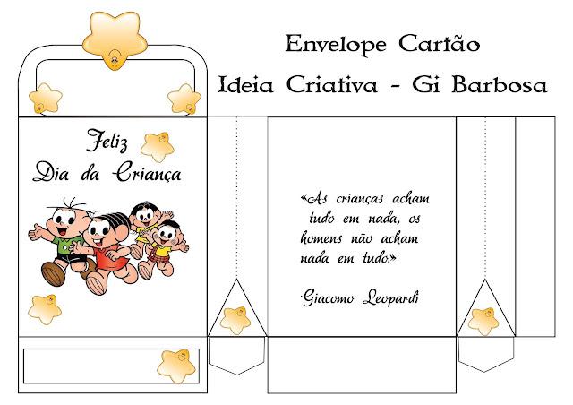 Envelope Cartão Dia da Criança Turma da Mônica com Estrela
