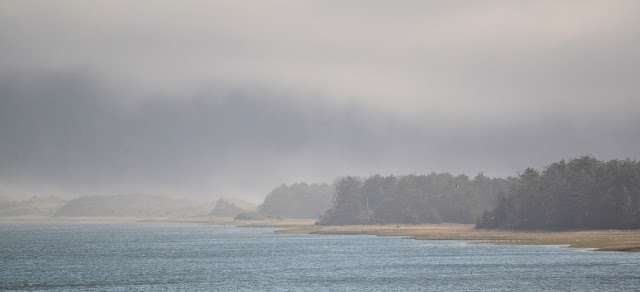 photo of fog on Netarts Bay Oregon by Nancy Zavada