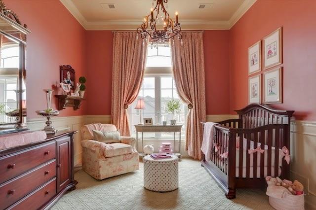 Cuarto de beb en marr n y rosa colores en casa - Cortinas dormitorio bebe ...